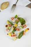 Salad of prawns and avocado Royalty Free Stock Photos
