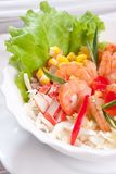 Salad with prawns and corn close up Stock Photography