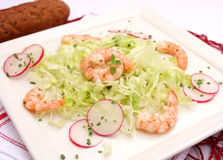 Salad with prawns Royalty Free Stock Image