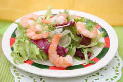 Salad with prawns Stock Photography