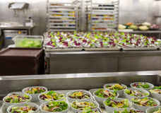 Salad Preparation Area in Commercial Kitchen Stock Photography