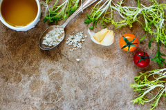 Salad preparation background Stock Image