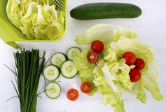 Salad preparation Stock Image