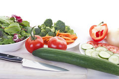 Salad Preparation with Knife Stock Images