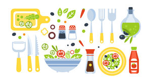 Salad Preparation Set Of Utensils Illustration Stock Photography