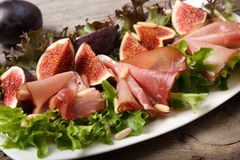 Salad with prosciutto Stock Photo