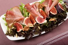 Salad with prosciutto Royalty Free Stock Photo