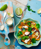 Salad with pumpkin, lime and tahini Royalty Free Stock Images