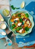 Salad with pumpkin, lime and tahini Royalty Free Stock Photos