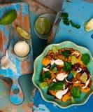 Salad with pumpkin, lime and tahini Stock Photography