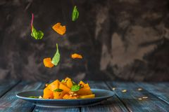 Salad with pumpkin, walnuts and green leaves, levitation ingredi Stock Photography