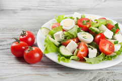 Salad with quail eggs and cherry tomato Stock Image