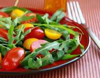 Salad with quail eggs and  tomatoes Stock Image