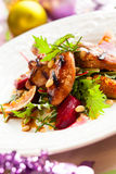 Salad with quail. Grilled quail breasts with fig and beet salad for holiday Stock Images