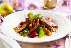 Salad with quail Stock Photography