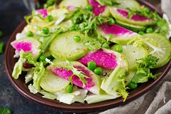 Salad from radish, cucumber and lettuce leaves. Vegan food. Dietary menu Royalty Free Stock Image