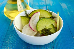Salad of radish of different varieties daikon, green, Chinese red chopped slices Stock Photography