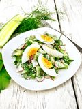 Salad with radish and egg in plate on wooden table. Salad from radish, cucumber, sorrel, greens and eggs, dressed with mayonnaise and sour cream in a plate on Stock Images