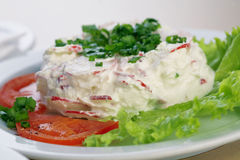 Salad With Radish And  Mayonnaise. Close-up picture of a radish salad with lettuce, tomato, parsley and mayonnaise on the plate Stock Photos