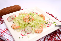 Salad with radish and prawns Stock Photos