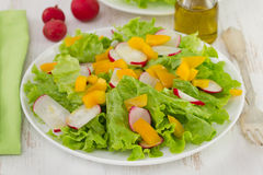 Salad with radish on the plate. Salad with radish on the white plate Royalty Free Stock Image