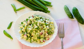 Salad with radishes, cucumber greens and sauce. Salad with radishes, cucumber greens and green onion sauce served on the side cucumbers and green peas Stock Photos