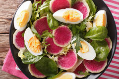 Salad with radishes, eggs, spinach and lettuce mix close-up. hor. Salad with radishes, eggs, spinach and lettuce mix close-up on the table. Horizontal view from Royalty Free Stock Photography