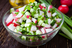 Salad with radishes and green onions in a transparent bowl. Closeup Royalty Free Stock Image