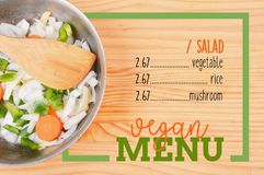 Salad with rectangle frame border of Vegan Menu card Stock Images