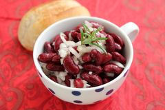 Salad of red beans. A salad of red beans with onions, vinegar and oil stock photos