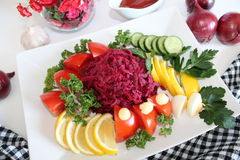 Salad with red beet and vegetables Stock Photo
