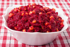Salad of red beets with maize Royalty Free Stock Photos