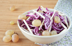 Salad of red cabbage with apples and grapes Royalty Free Stock Photography