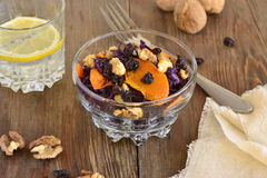 Salad of red cabbage with caramelized walnuts, pumpkin Stock Photos