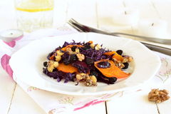 Salad of red cabbage with caramelized walnuts, pumpkin Royalty Free Stock Photography