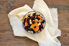Salad of red cabbage with caramelized walnuts and pumpkin Royalty Free Stock Images