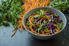 Salad of red cabbage, carrots and greens. Decorated with sliced vegetables and herbs. Cutting strips. Dark background royalty free stock image