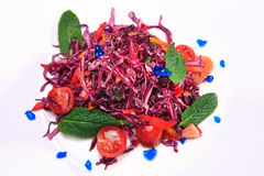Salad of red cabbage (Coleslaw). Salad of red cabbage on a white background (Coleslaw Stock Photo