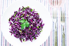 Salad of red cabbage with onions and greens Stock Photo