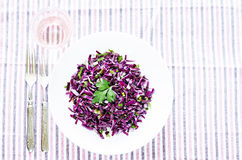 Salad of red cabbage with onions and greens Stock Photography