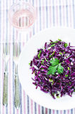 Salad of red cabbage with onions and greens Royalty Free Stock Photography