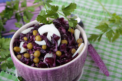 Salad of red cabbage with peas and eggs Royalty Free Stock Photos