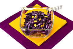 Salad of Red Cabbage, Pumpkins, Peas and Corn Royalty Free Stock Images