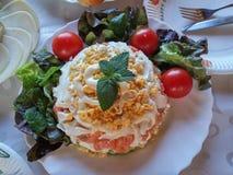 Salad with. Red fish. Salad with red fish Stock Photos
