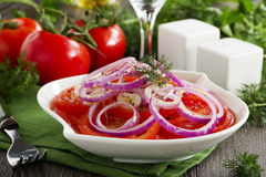Salad of red tomatoes Stock Photos