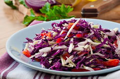 Salad of red and white cabbage and sweet red peppe Stock Images