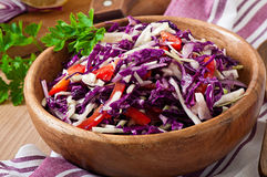 Salad of red and white cabbage and sweet red peppe Royalty Free Stock Photography