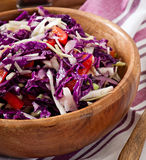 Salad of red and white cabbage and sweet red peppe Stock Photo
