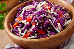 Salad of red and white cabbage and sweet red peppe Stock Photos