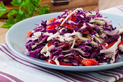 Salad of red and white cabbage and sweet red peppe Royalty Free Stock Image